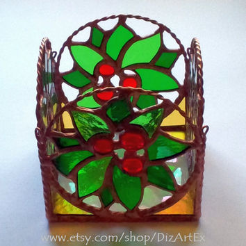 Christmas Candle Holder II Of Stained Glass. Handmade.