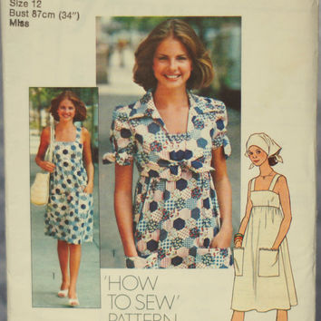 1970s Vintage Sewing Pattern Teens Dress, Jacket and Scarf Simplicity 7292, Size 12 Medium Junior Misses