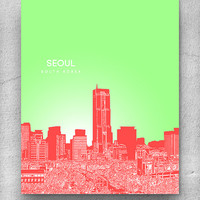 Skyline City Art / Seoul South Korea Cityscape / Home Office Pop Art Poster Print / 8x10 Print Any City Available Available