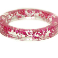 Flower Jewelry- Resin Flower Jewelry- Jewelry with Real Flowers- Dried Flowers- Pink Flowers- Pink Bracelet -Resin Jewelry