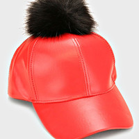 Faux Leather Fur Pom Pom Baseball Hat - Red