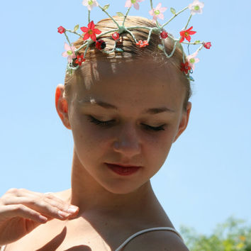 Professional Ballet Headpiece Tiara Ballerina Green Red Pink Flower Floral Ladybug Crystal Dance Crown Head Piece