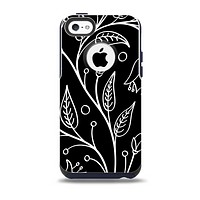 The Black and White Vector Branches Skin for the iPhone 5c OtterBox Commuter Case