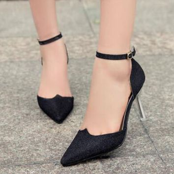 New Fashion Ladies High Heels Buckle Strap Women Pointed Toe Shoes Stiletto Gorgeous Girls