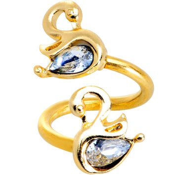 Clear Gem Gold PVD Twin Swans Spiral Twister Belly Ring