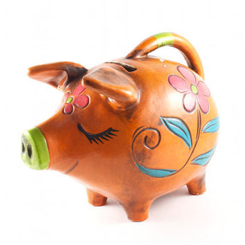 Sleepy Pig Piggy Bank Hippie Kitsch Flowers Burnt Orange / Vintage 60s 70s