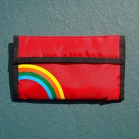 Velcro Wallet Checkbook Vintage 1980s Rainbow Red