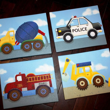Set of 4 Transportation Boys Bedroom Stretched Canvases Kids Playroom Baby Nursery CANVAS Bedroom Wall Art 4CS009