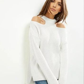 Winter Women's Fashion Hollow Out Pullover Sweater [31068258330]