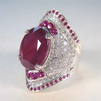 New Unique Vintage Wedding Rings For Women Red Crystal Color Antique Sliver Party Cocktail Ring Punk Turkish Jewelery X7-M2