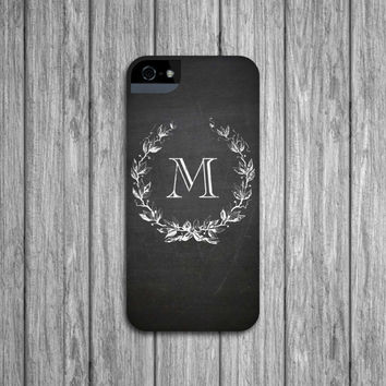 Chalkboard Monogram Personalized iPhone5 Case, iPhone 4/4S, iPhone 5S, iPhone 5C Case
