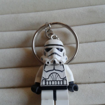 Storm trooper  keychain keyring  made with  LEGO® Star Wars minifigure