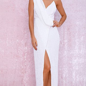 Pretty Woman White Sequin Sleeveless Cross Wrap V Neck Drape Split Maxi Dress