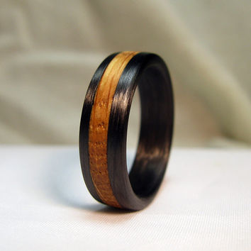 Jack Daniels Whiskey Barrel Ring with Carbon Fiber