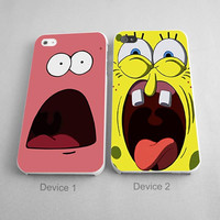 Scare Face Spongebob And Patrick Couples Phone Case iPhone 4/4S, 5/5S, 5C Series - Hard Plastic, Rubber Case
