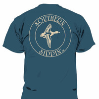 Southern Sippin Duck Navy Pigment Dyed Unisex Pocket T-Shirt