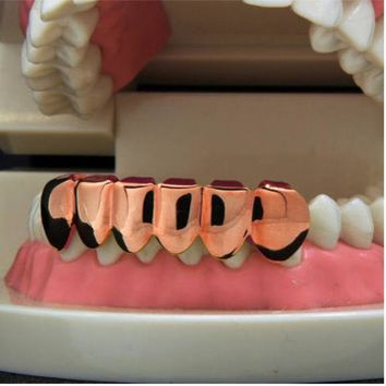 ESBONHS NEW 1PCS Hip Hop Teeth Grillz Cap Rose Gold Lower Bottom Bloodsucker Teeth Protector For Halloween Christmas Party