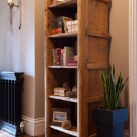Rustic Open Book Shelves - Rose & Grey, Vintage Leather Sofas and Stylish Accessories