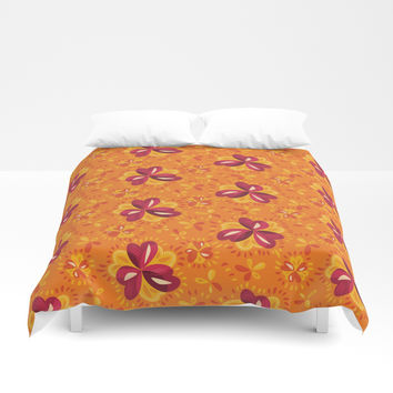 Orange And Pink Clover Abstract Floral Duvet Cover by borianagiormova