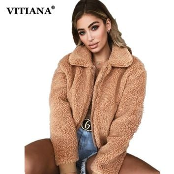 VITIANA Women Casual Faux Fur Coat Female Winter Elegant Loose Warm Soft Outwear Zipper Teddy Overcoat Jacket