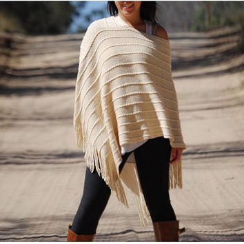 SALE - Cream Knitted Winter Thick Poncho