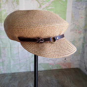 Vintage Straw  Flat Cap With Leather Trim Boho Hipster Festival Size 7 1/8 Unisex