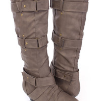 Taupe Strappy Mid Calf Boots Faux Leather