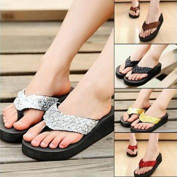 Summer Women Platform Flip Flop Beach Sandals Sequins Sparkling Wedge Slippers