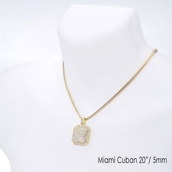 "Jewelry Kay style Men's Fashion Iced Cube Pendant 20"" / 24""  Miami Cuban Chain Necklace MCP 1112 G"