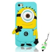 I Need(TM) Stylish One Eye Yellow Cartoon Despicable Me Minion Logo Sky Blue Soft Silicone Case Cover Compatible For Apple Iphone 5 + 3D Alien Stylus Pen+I-need® Wristband Gift(Retail Package)