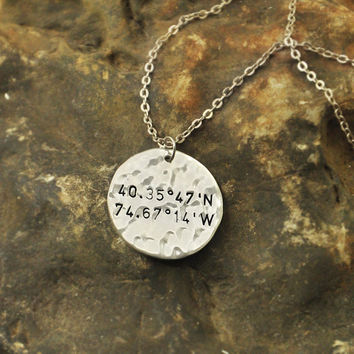 Latitude Longitude Necklace with GPS Coordinates on Custom alloy Charm Latitude Longitude jewelry