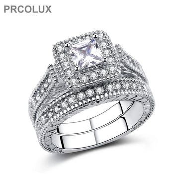 PRCOLUX  Band Female Princess Cut Ring Set 925 Sterling Silver jewelry White CZ Wedding Engagement Rings For Women Gifts QFA28