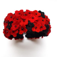 Spring Flowers in RED AND BLACK - hand embroidered felt bracelet - small flowers - wool felt