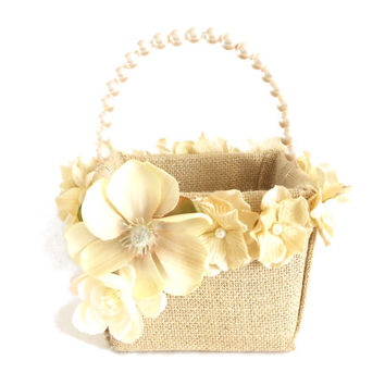 Rustic Burlap Flower Girl Basket with Velvet Flowers and Pearls