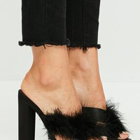 Missguided - Black Feather Satin Cross Vamp Heeled Mules