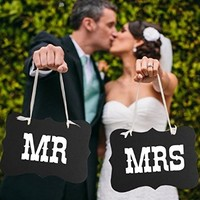 "Hmost Mr & Mrs Letter Vintage Style Wedding Party Photo Props Chair Signs Banner Decorations ,6"" * 10"" Black"
