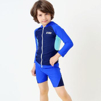 Boy Sports Swimwear Surfing Suit Children Long Sleeves Competitive Swimsuit Boy Two Pieces Bathing Suit Beach Wear