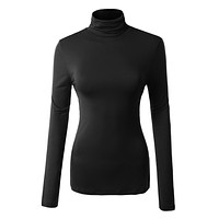 Solid Long Sleeve Turtleneck Shirt with Stretch (CLEARANCE)