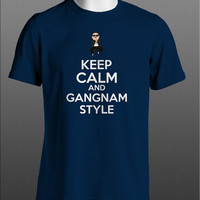 Keep Calm And Gangnam Style Oppa PSY korean pop hip hop mens red or royal blue or navy blue tshirt
