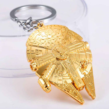 New 2015 Movie Star Wars Spaceship Logo Metal Gold Pendant Key Chain keyring for fans Keychain men Gift Free shipping