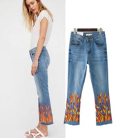 Women's summer new flame printed cowboy bells pants female trousers