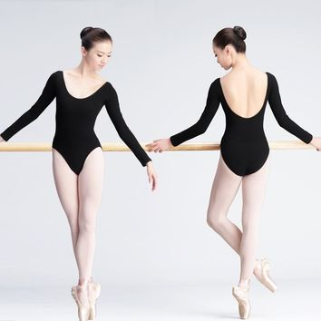 Girls Adult Ballet Leotard Black Women Dance Clothes Long Sleeve Cotton Ballet Dancewear Bodysuit For Ballerina