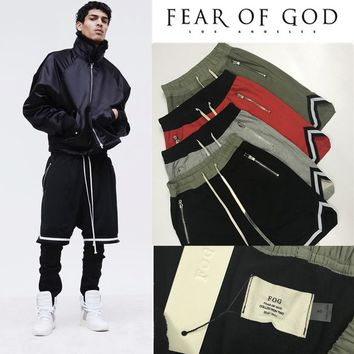 Fear Of God Shorts Man Women 1:1 High Quality 2017  Fearofgod Justin Bieber Drawstring FOG Shorts Streetwear Fear Of God Shorts