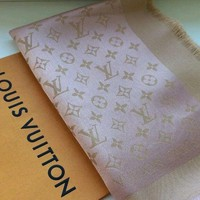 Louis Vuitton authentic blush & gold lurex monogram shine shawl scarf