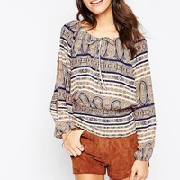 Influence Boho Open Shoulder Gypsy Top