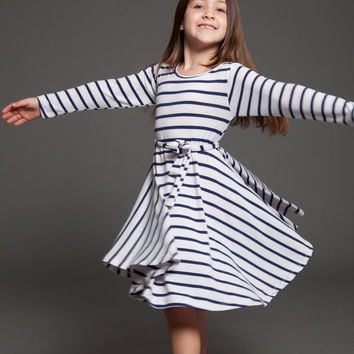ON SALE Stripe swing dress for girls - blue and white stripe toddler dress - birthday girl dress - twirling dress, christmas swing dress