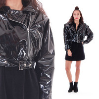 80s PVC Motorcycle Jacket Cropped Black Shiny Wet Look Batwing 1980's 90s Vintage Outerwear Raincoat Womens Size Small