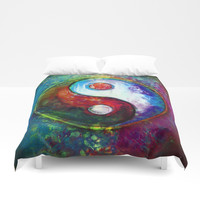 Yin Yang - Colorful Painting VI Duvet Cover by Dirk Czarnota