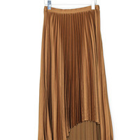 Asymmetrical Pleated Long Skirt