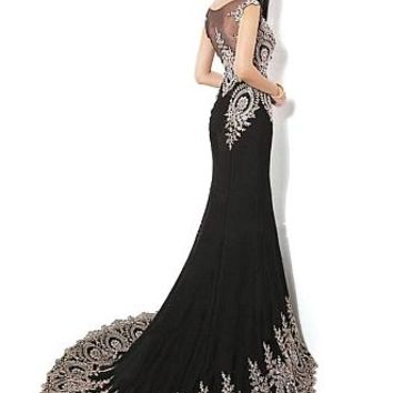 Buy discount Elegant Stretch Chiffon Bateau Neckline Floor-length Mermaid Evening Dress at Dressilyme.com